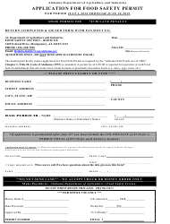 Application for Food Safety Permit - Alabama