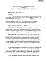 Bond for Custom Application of Pesticides - Alabama