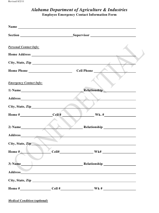 """Employee Emergency Contact Information Form"" - Alabama Download Pdf"