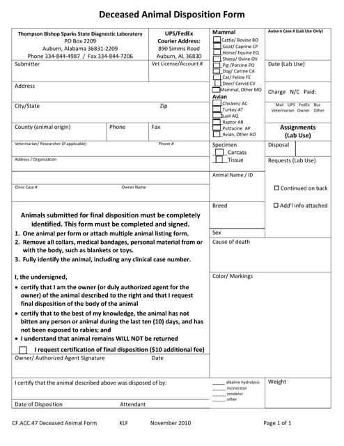 Form CF.ACC.47  Printable Pdf