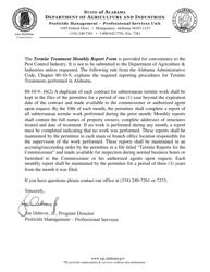 Monthly Report of Subterranean Termite Work - Alabama