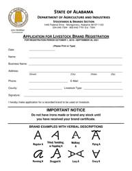 Application for Livestock Brand Registration - Alabama