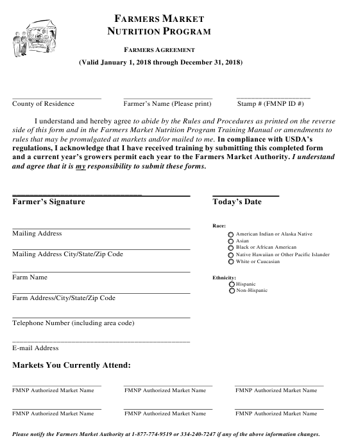 """Farmers Agreement Form"" - Alabama Download Pdf"