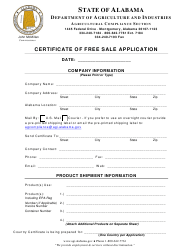"""Certificate of Free Sale Application Form"" - Alabama"