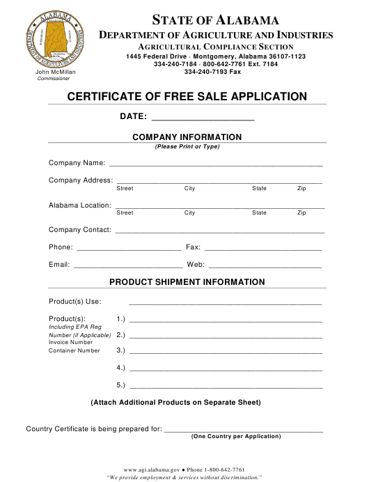 """Certificate of Free Sale Application Form"" - Alabama Download Pdf"