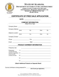 Certificate of Free Sale Application Form - Alabama