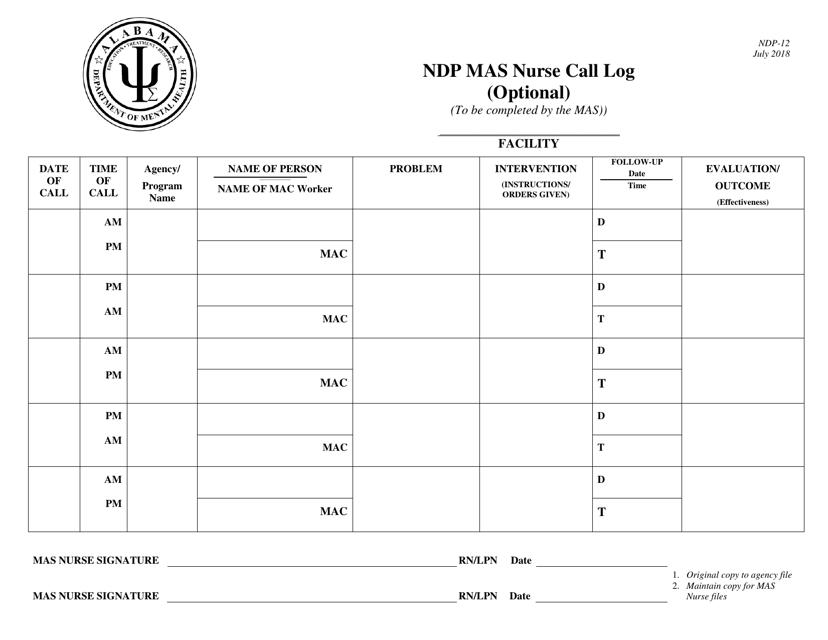 Form NDP-12  Printable Pdf