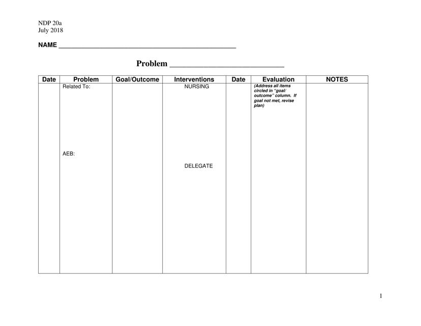 form ndp 20a download printable pdf  blank care plan