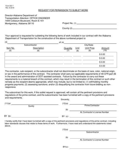 Form OE-7  Printable Pdf