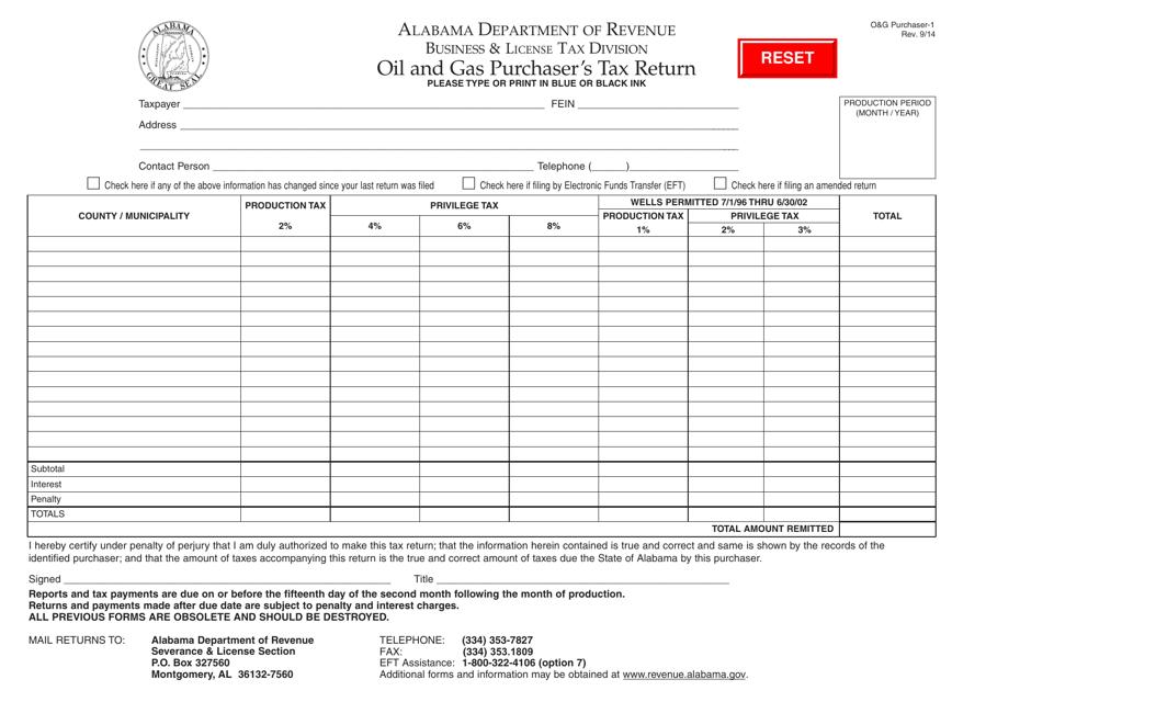 Form O&G Purchaser-1  Printable Pdf