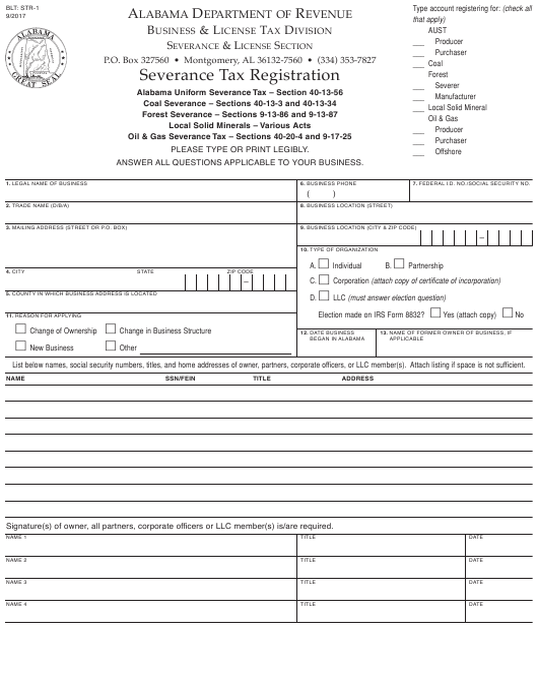 Form STR-1 Printable Pdf