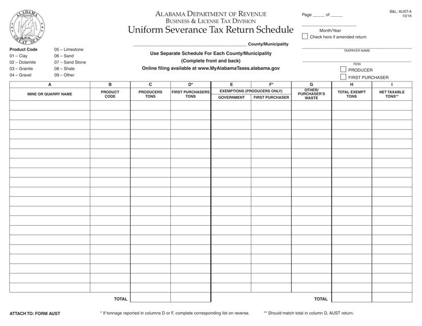 Form B&L: AUST-A  Printable Pdf