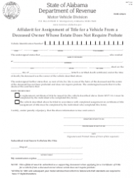 Form MVT 5-6 Affidavit for Assignment of Title for a Vehicle From a Deceased Owner Whose Estate Does Not Require Probate - Alabama