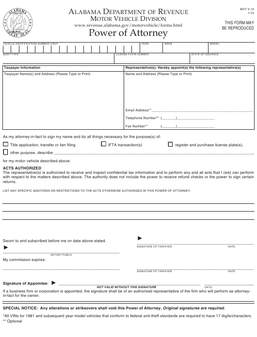 Form MVT5-13 Download Fillable PDF or Fill Online Power of ... on easement form alabama, quit claim deed form alabama, printable medical power attorney forms alabama, bill of sale form alabama, name change form alabama, power of attorney document, power of attorney print out,