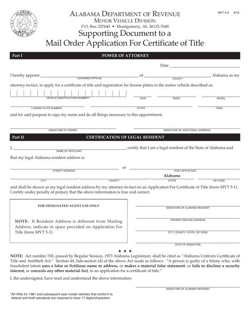 Form MVT5-9  Printable Pdf