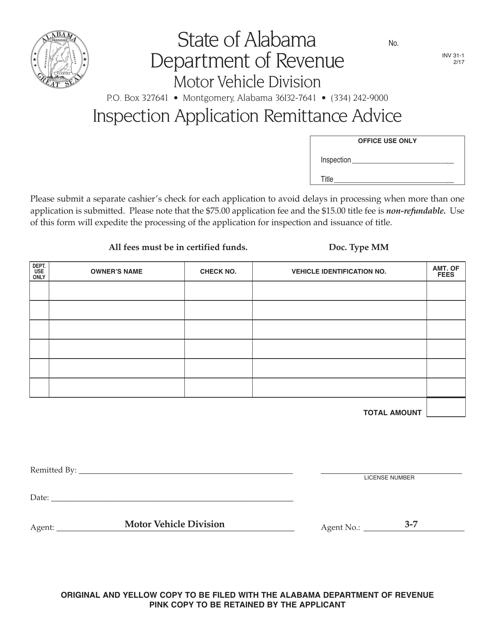 Form INV31-1  Printable Pdf