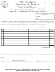 Form INV 31-1 Inspection Application Remittance Advice - Alabama