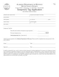 Form MVR-1 Temporary Tag Application - Alabama