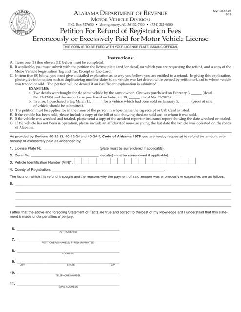 Form MVR40-12-23  Printable Pdf