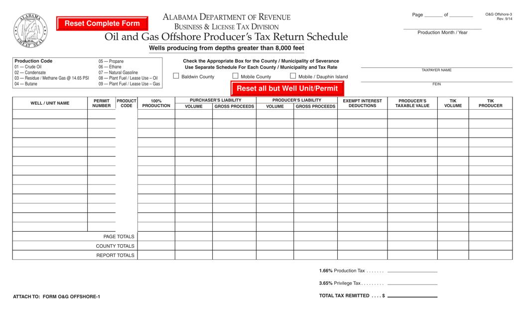Form O&G OFFSHORE-3  Printable Pdf