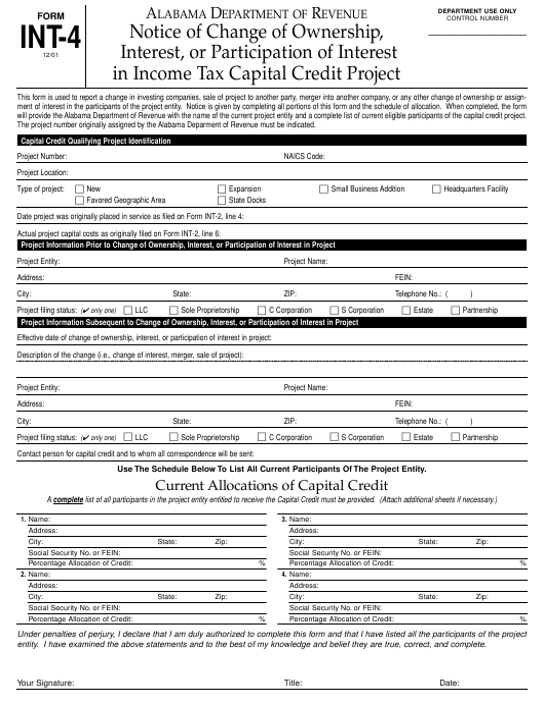 Form INT-4  Printable Pdf