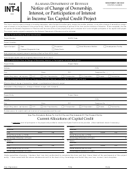 Form INT-4 Notice of Change of Ownership, Interest, or Participation of Interest in Income Tax Capital Credit Project - Alabama