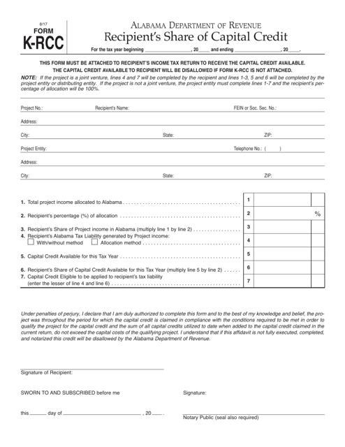 Form K-RCC  Printable Pdf