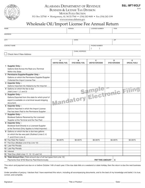 Form B&L: MFT-WOLF  Printable Pdf