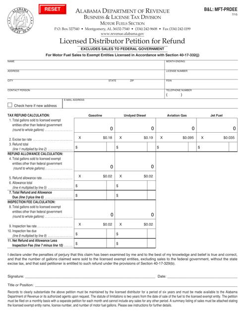 Form B&L: MFT-PRDEE  Printable Pdf