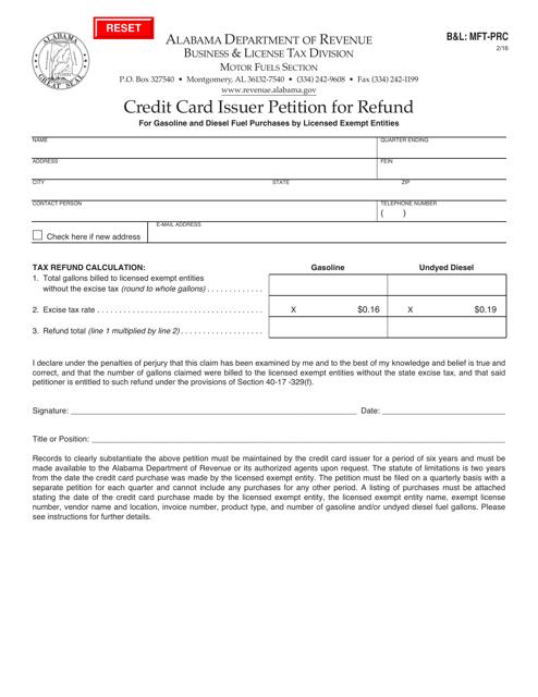 Form B&L: MFT-PRC  Printable Pdf