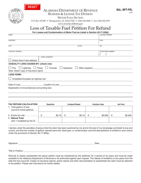 Form B&L: MFT-PRL  Printable Pdf