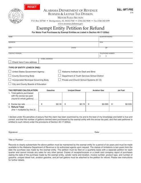 Form B&L: MFT-PRE  Printable Pdf