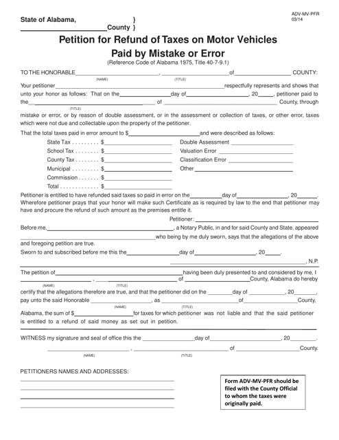 Form ADV-MV-PFR  Printable Pdf
