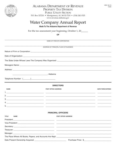 Form ADV: U5-15  Printable Pdf