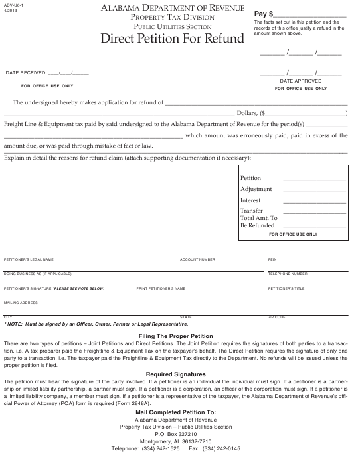 Form ADV-U6-1  Printable Pdf