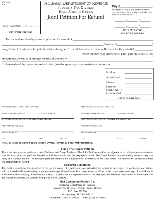 Form ADV-U6-2  Printable Pdf