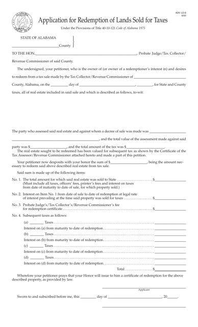 Form ADV: LD-8  Fillable Pdf