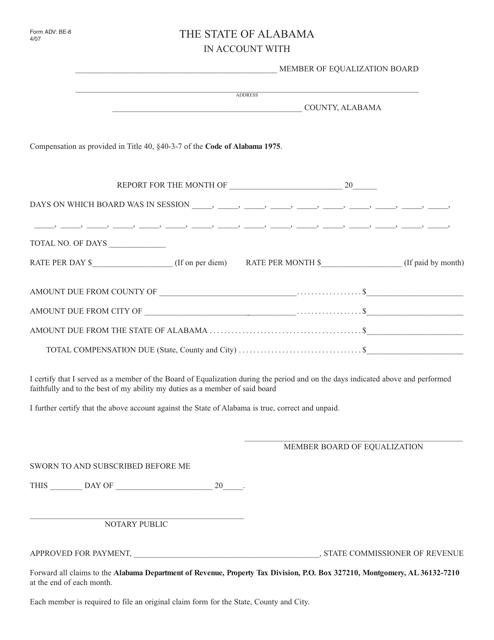 Form ADV: BE-8  Printable Pdf