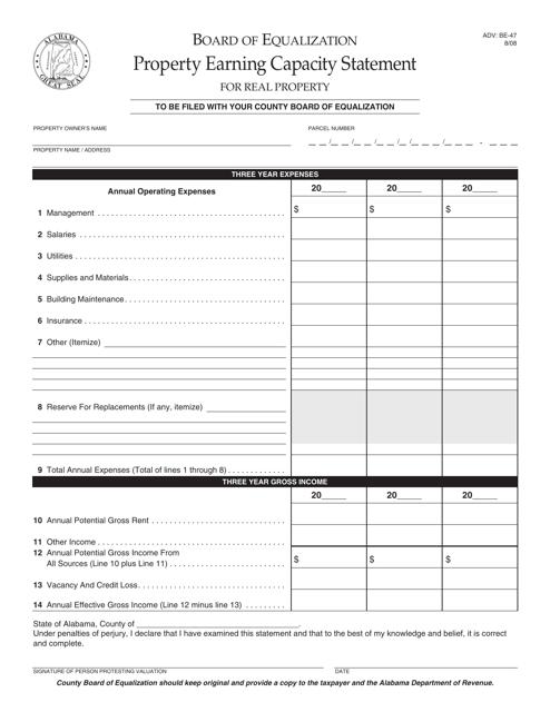 Form ADV: BE-47  Printable Pdf