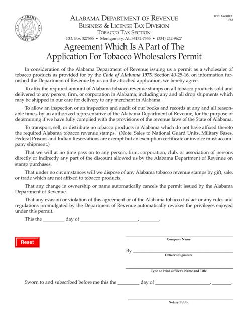 Form TOB: T-AGREE  Printable Pdf