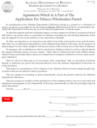 Form TOB: T-AGREE Agreement Which Is a Part of the Application for Tobacco Wholesalers Permit - Alabama