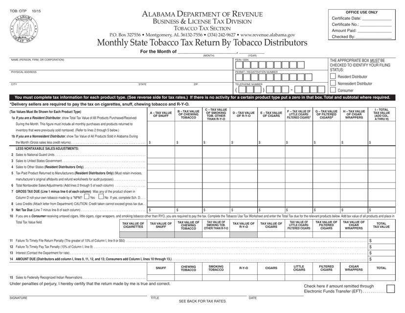 Form TOB: OTP  Printable Pdf