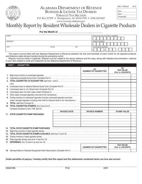 Form TOB: T-WHSLE  Printable Pdf