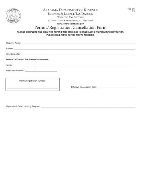 Form TOB: CAN  Printable Pdf