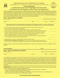 """Formulario A4 """"Certificado Para Todo Empleado De Exencion De Retencion De Ingresos Para Pago De Impuestos"""" - Alabama (Spanish)"""
