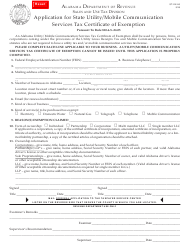 "Form ST: EX-A3 ""Application for State Utility/Mobile Communication Services Tax Certificate of Exemption"" - Alabama"