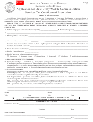 Form ST: EX-A 3 Application for State Utility/Mobile Communication Services Tax Certificate of Exemption - Alabama