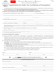 "Form ST: EX-A1 ""Application for Sales Tax Certificate of Exemption"" - Alabama"