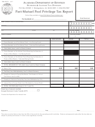 "Form TOB: PPPT-1 ""Pari-Mutuel Pool Privilege Tax Report"" - Alabama"