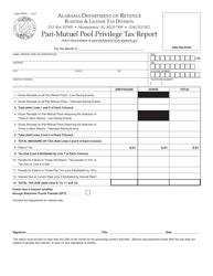 Form TOB: PPPT-1 Pari-Mutuel Pool Privilege Tax Report - Alabama